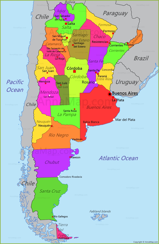 Argentina Map | Map of Argentina - AnnaMap.com