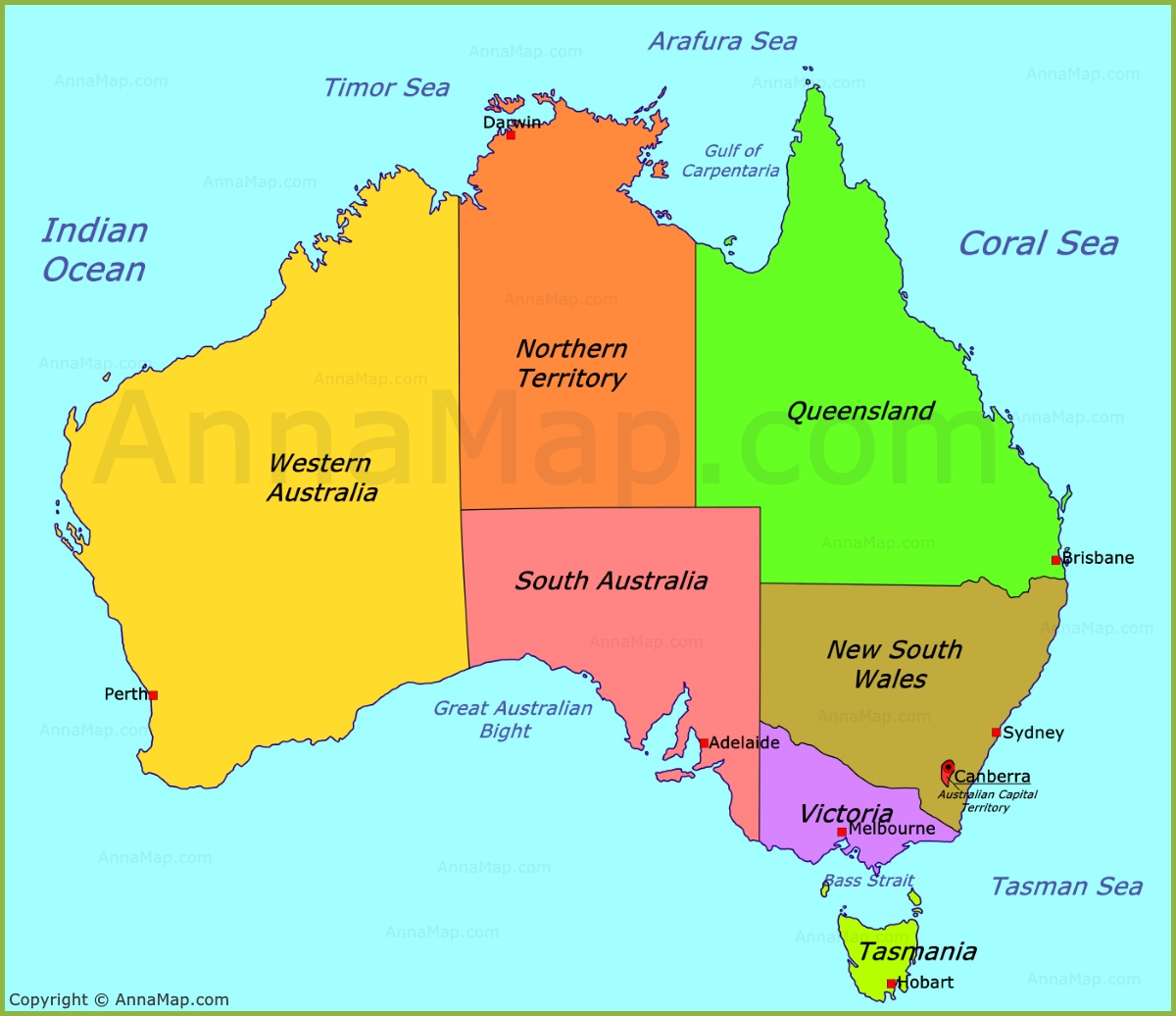 Australia Political Map With Capitals.Australia Political Map Annamap Com