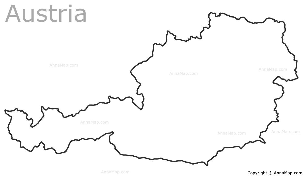 Austria Outline Map AnnaMapcom - Austria on world map