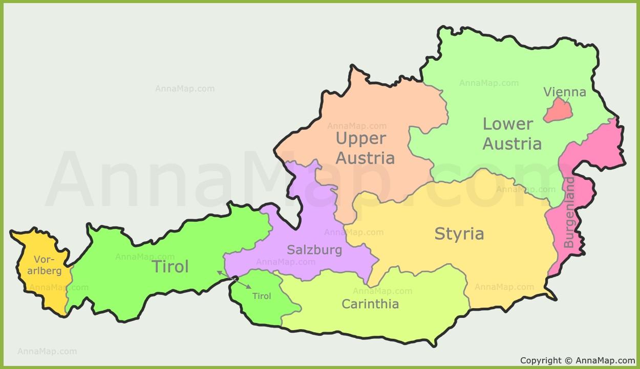Austria states map | States of Austria - AnnaMap.com