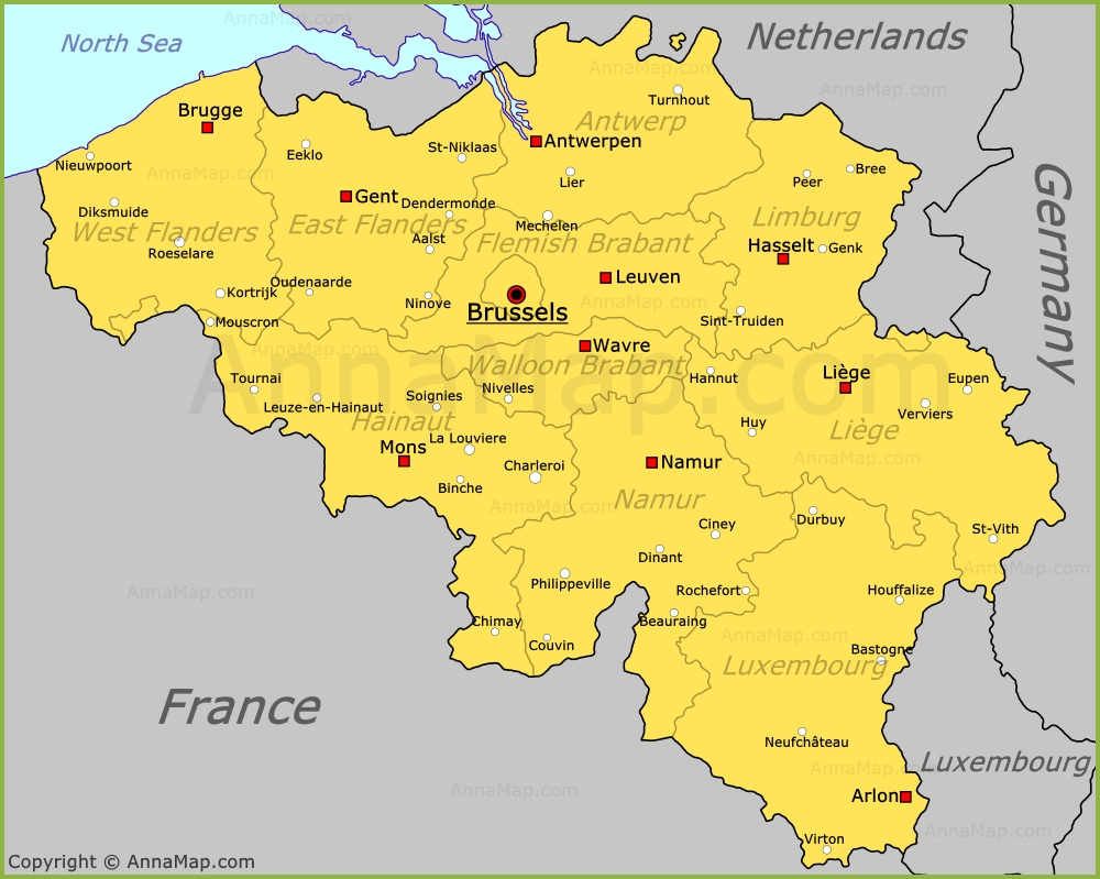 Belgium Map Map of Belgium AnnaMapcom