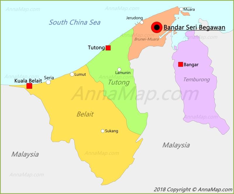 Brunei Map Map Of Brunei AnnaMapcom - Brunei map