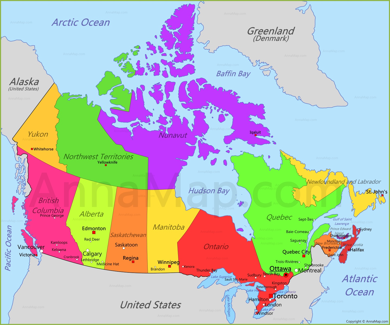 Canada Map Map of Canada AnnaMapcom
