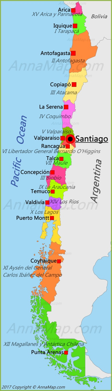 Chile map map of chile annamap chile map gumiabroncs Choice Image