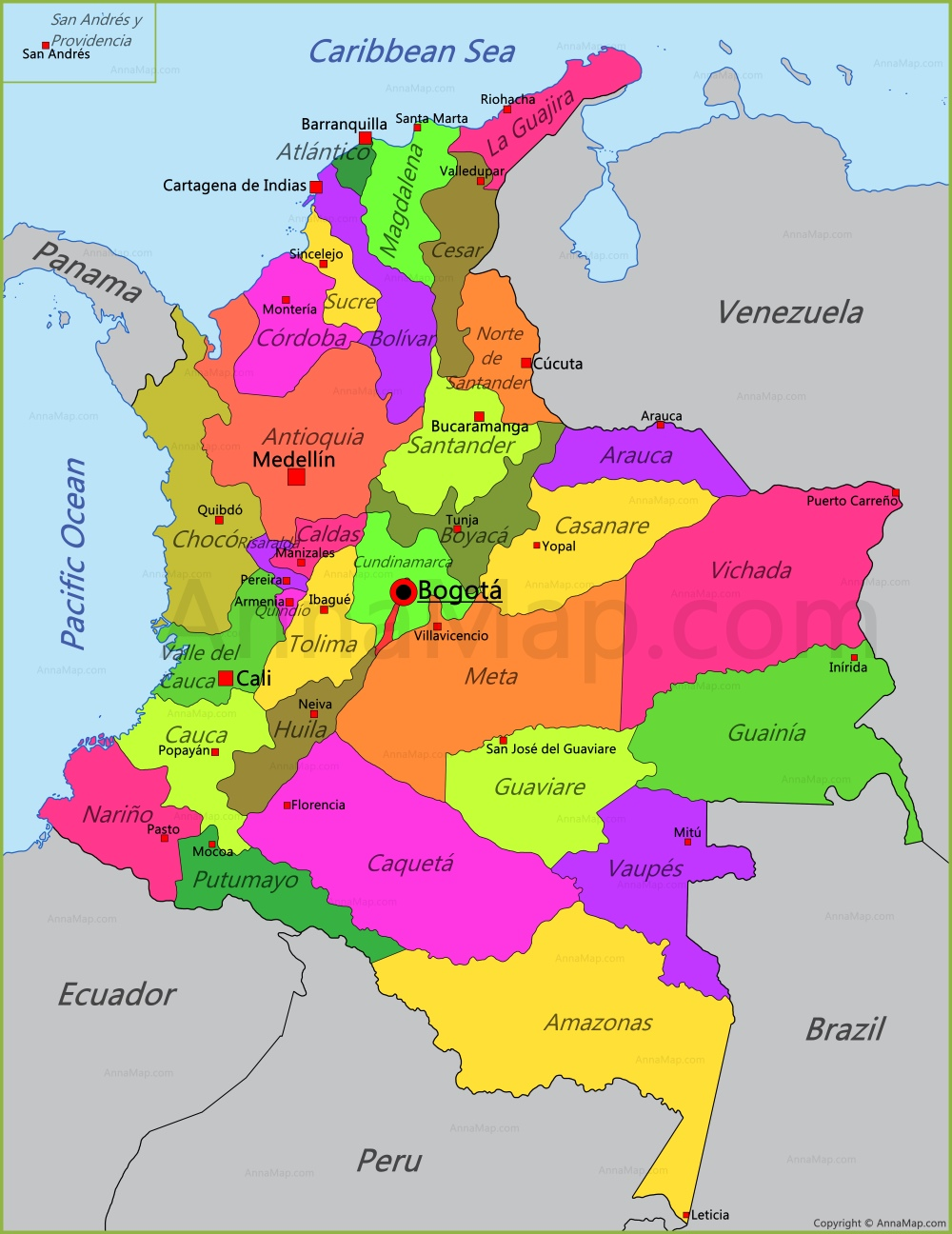 Colombia Map Map of Colombia AnnaMapcom