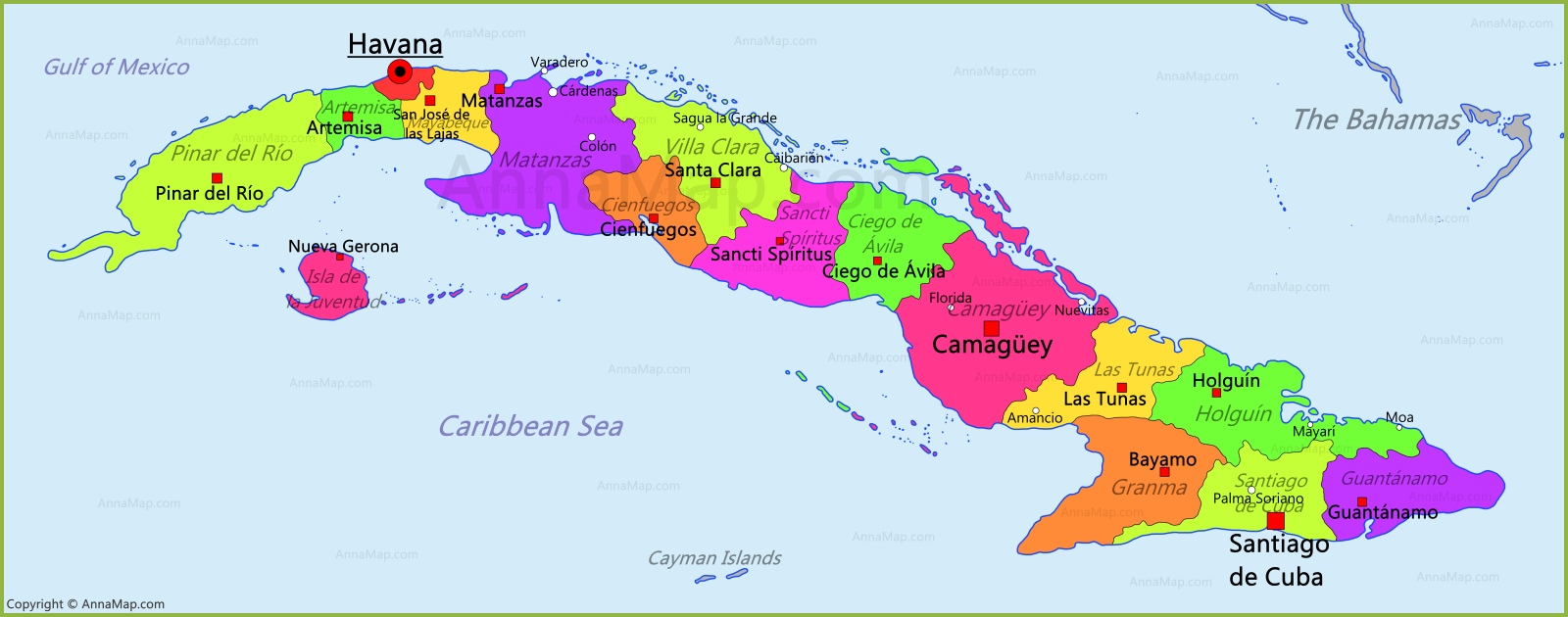 Cuba Map | Map of Cuba - AnnaMap.com