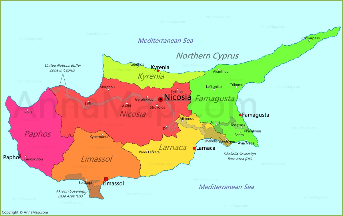 Cyprus Map Map of Cyprus AnnaMapcom