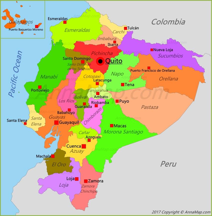 Ecuador Map | Map of Ecuador - AnnaMap.com