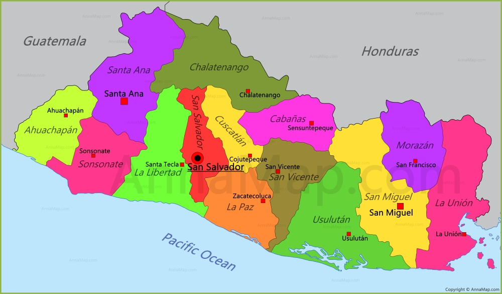 El Salvador Map | Map of El Salvador - AnnaMap.com