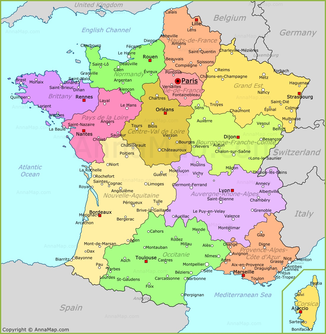 France Map | Map of France - AnnaMap.com