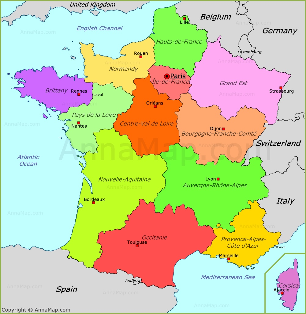 Map Of France In English.France Political Map Annamap Com