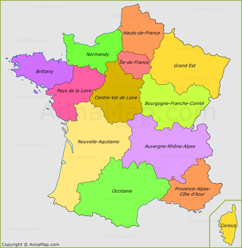 Map Of Regions France.France Regions Map Regions Of France Annamap Com