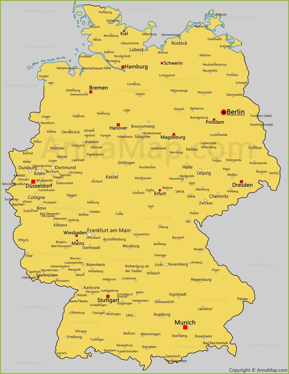 Germany cities map | Cities and towns in Germany - AnnaMap.com