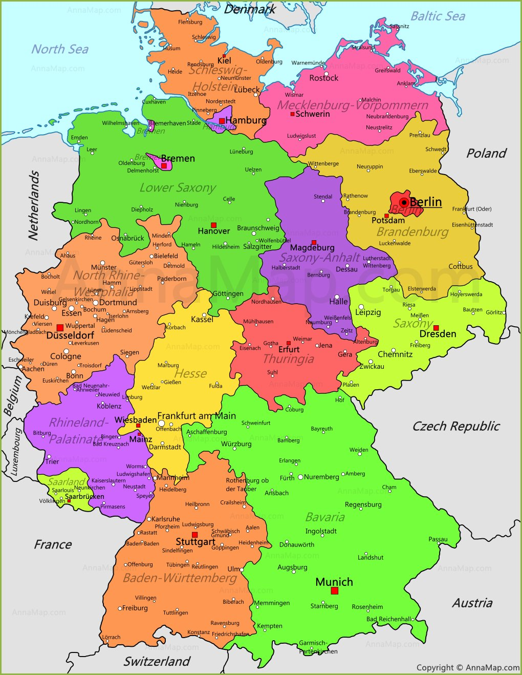 Germany Map | Germany political map   AnnaMap.com