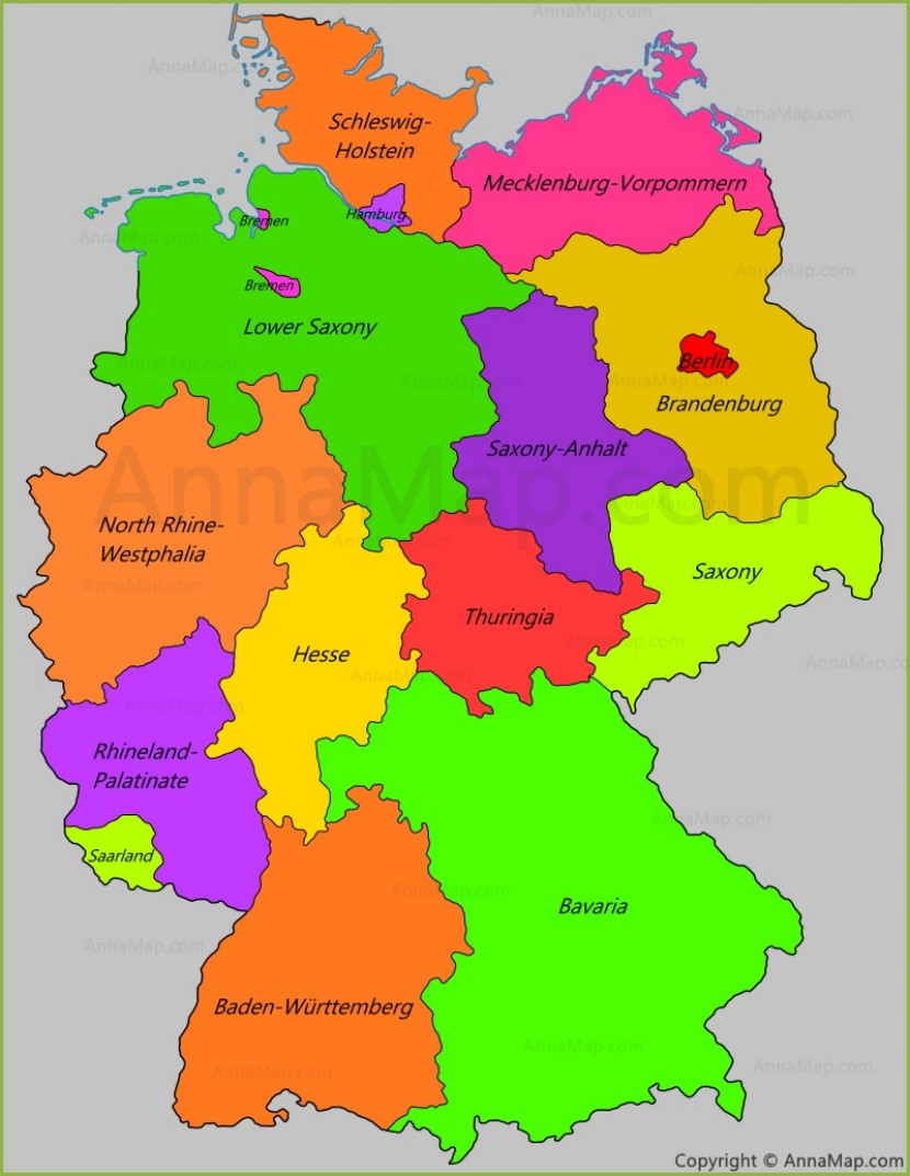 Germany states map | States of Germany - AnnaMap.com