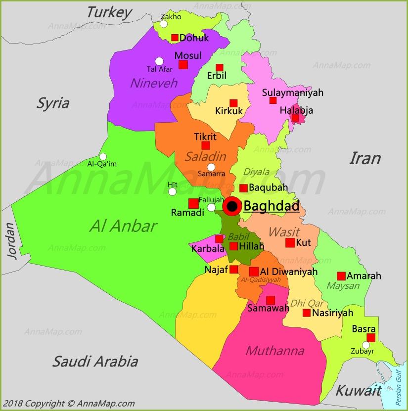 Iraq Map | Map of Iraq - AnnaMap.com