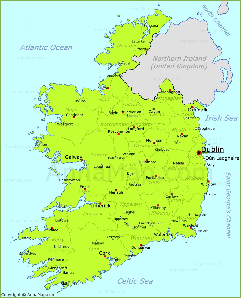 Map Of Ireland With Towns.Ireland Map Map Of Republic Of Ireland With Cities And Towns