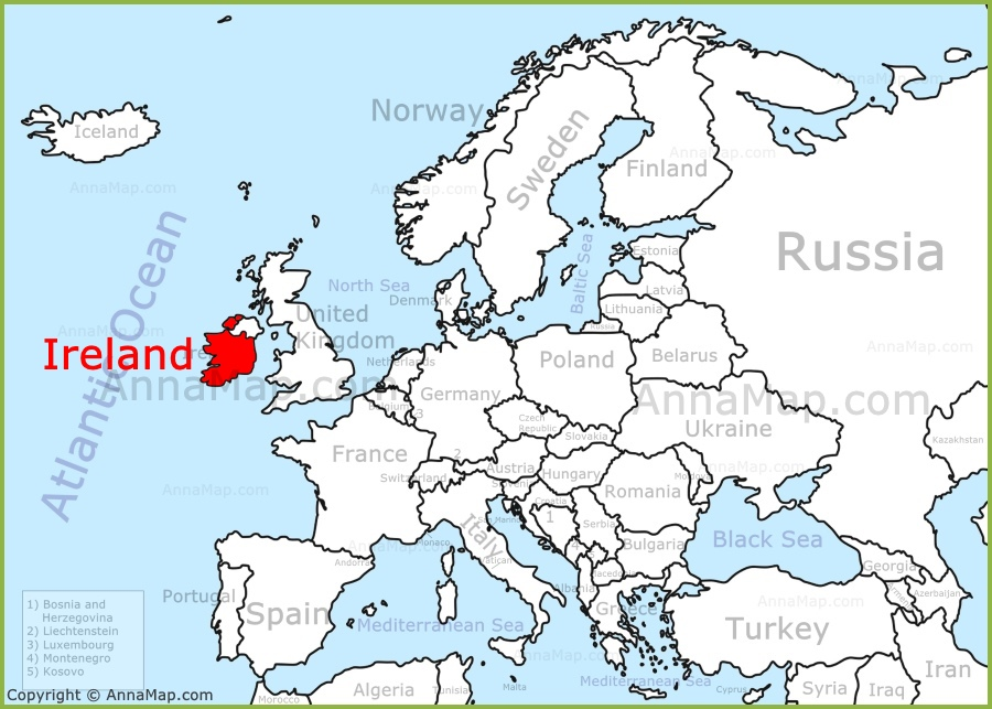 Ireland on the Europe map AnnaMapcom