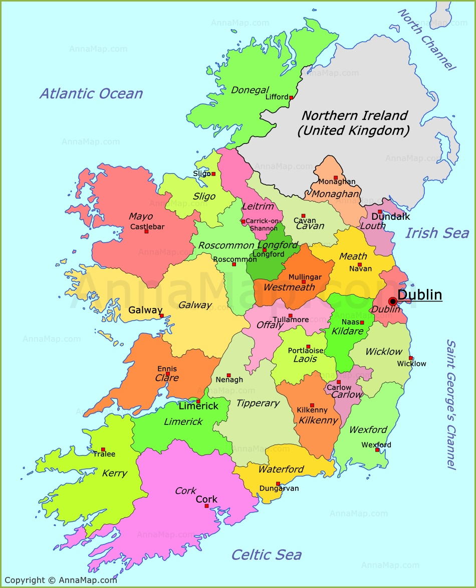 Ireland political map Ireland counties map AnnaMapcom