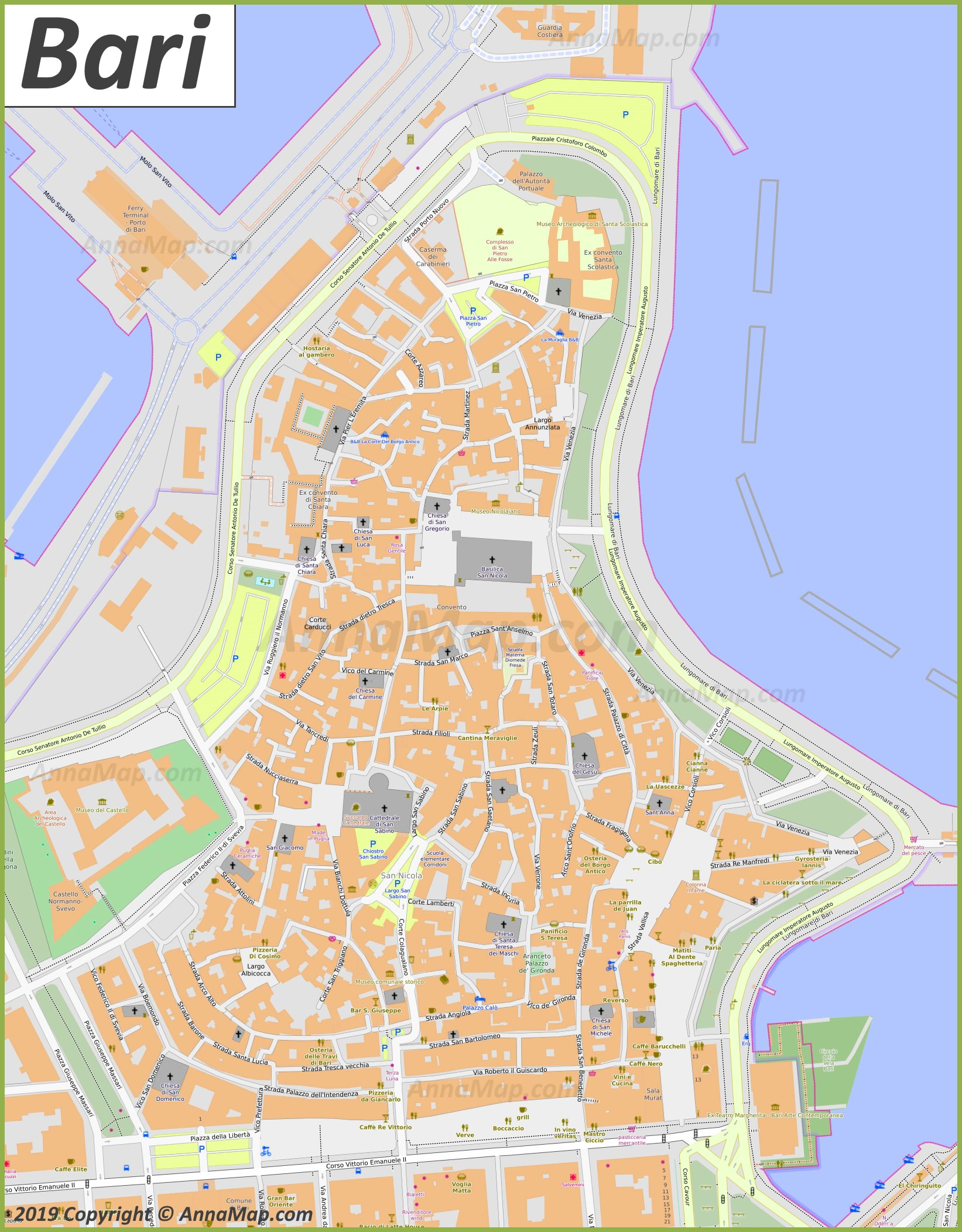 Detailed Map Of Italy With Cities And Towns.Detailed Tourist Maps Of Bari Italy Free Printable Maps Of Bari