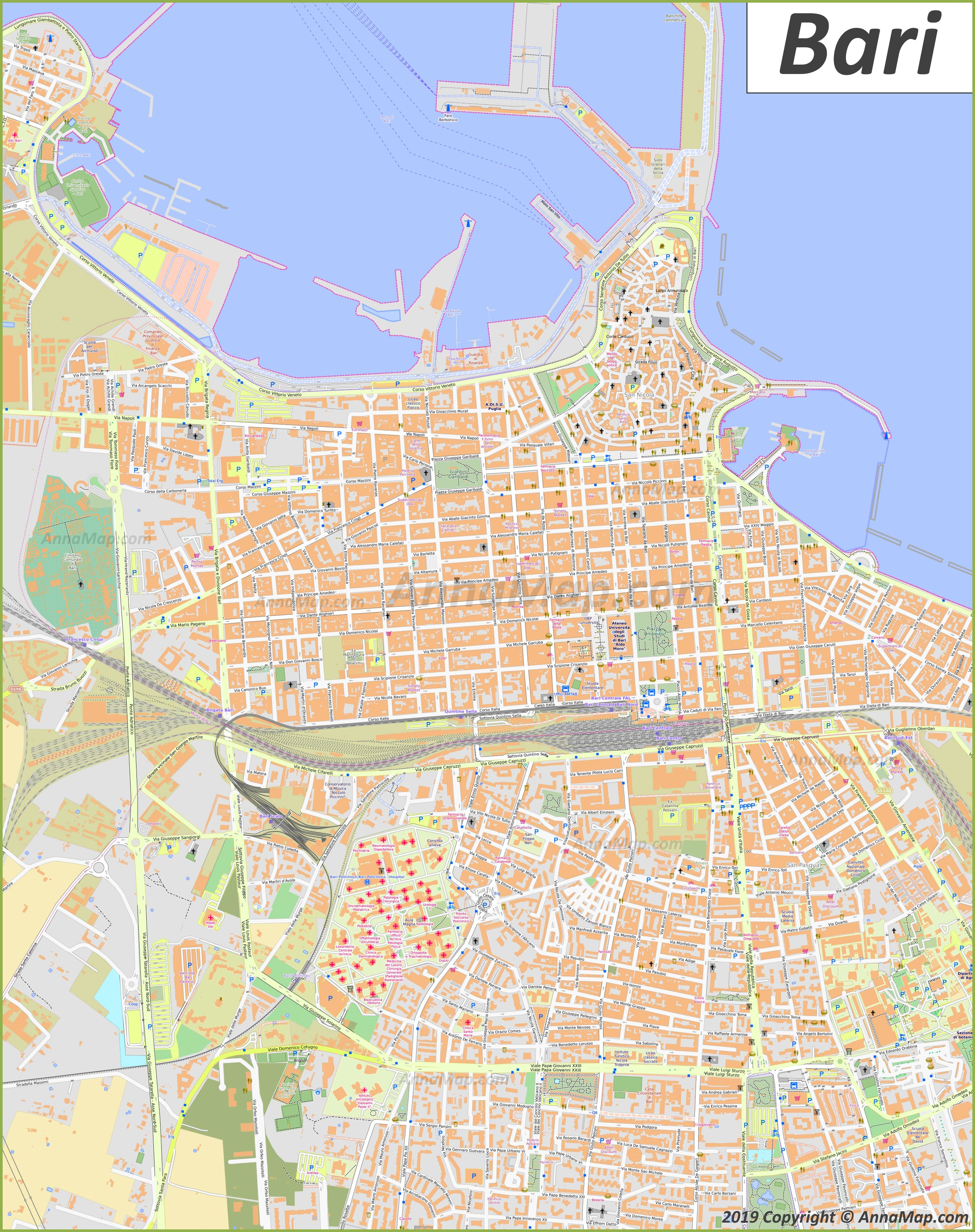 picture relating to Printable Maps of Italy called In depth vacationer maps of Bari Italy No cost printable maps