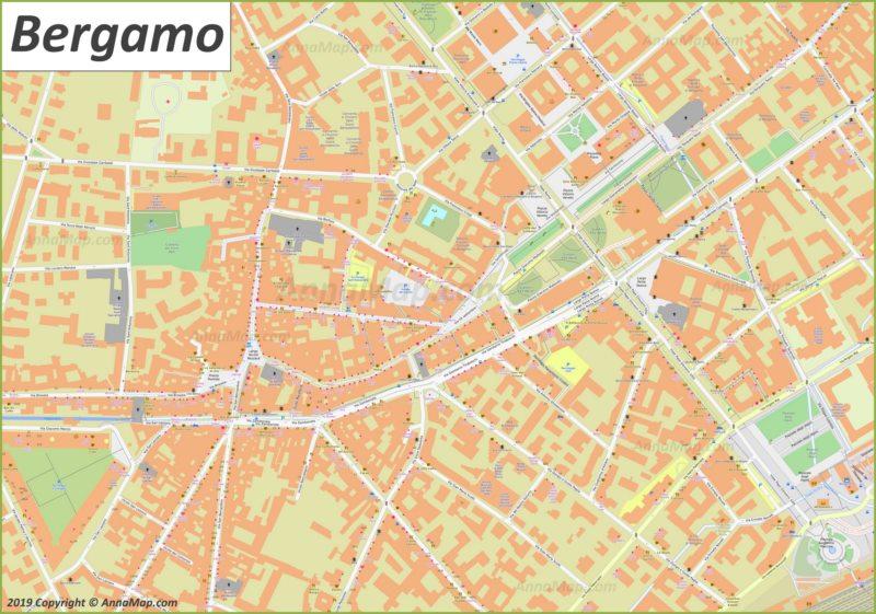 Карта Бергамо - Центр Города
