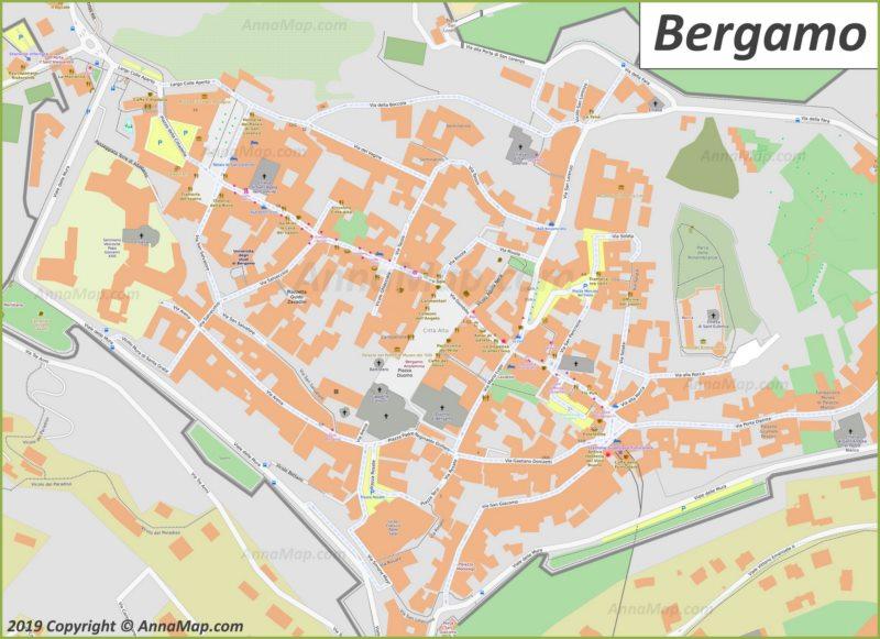 Карта Бергамо - Старый Город