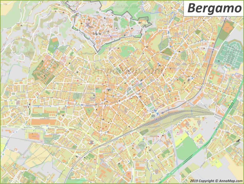 Подробная туристическая карта Бергамо