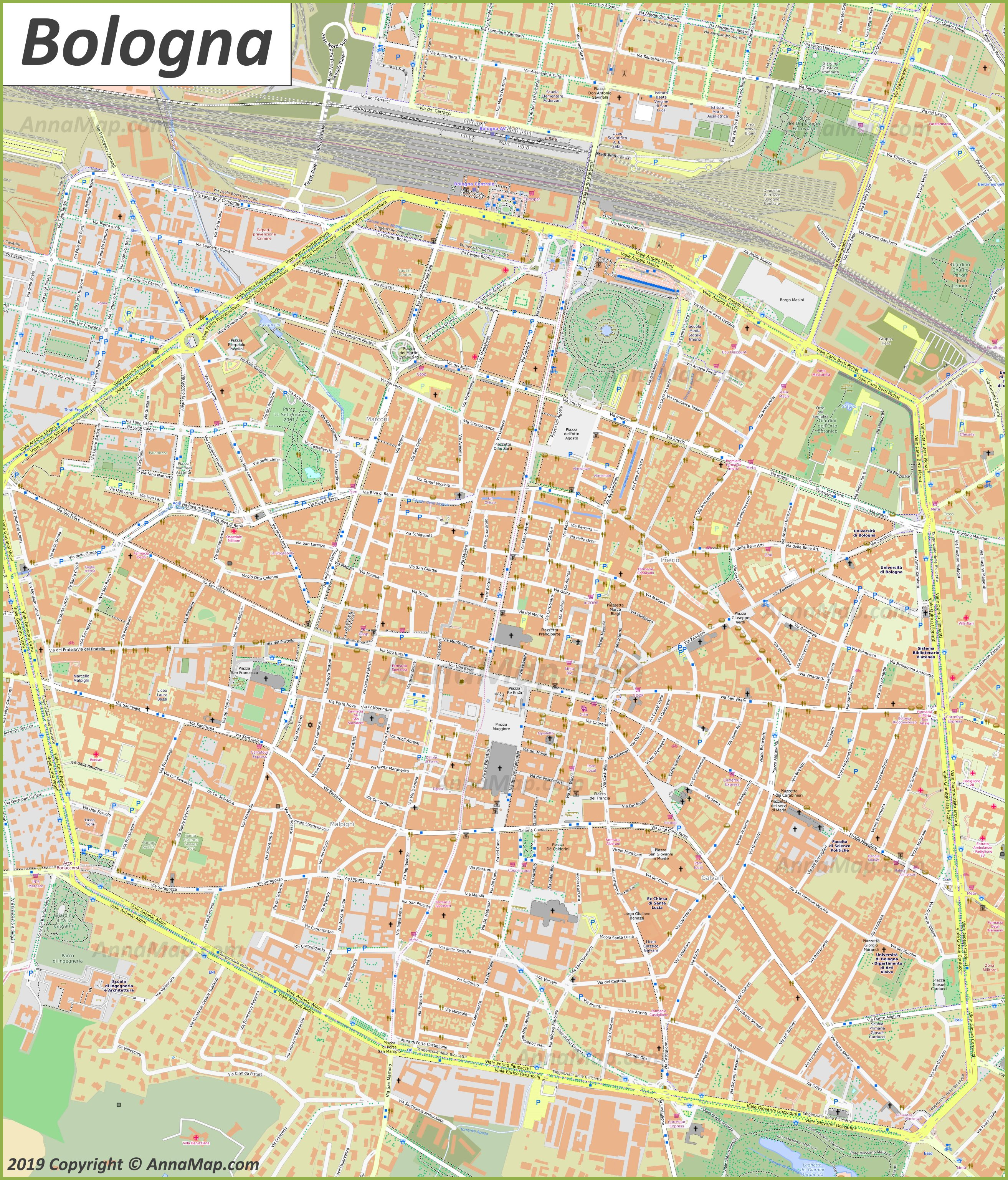 Bologna On Map Of Italy.Detailed Tourist Maps Of Bologna Italy Free Printable Maps Of