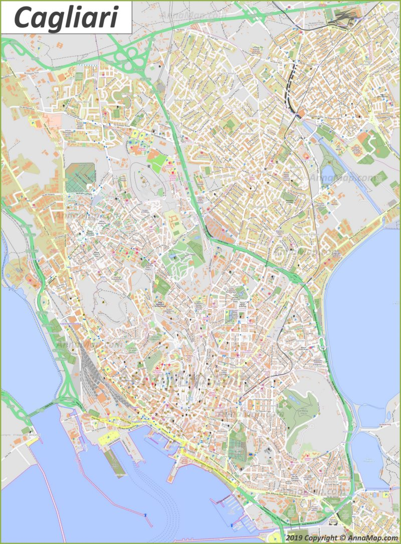 Detailed tourist map of Cagliari
