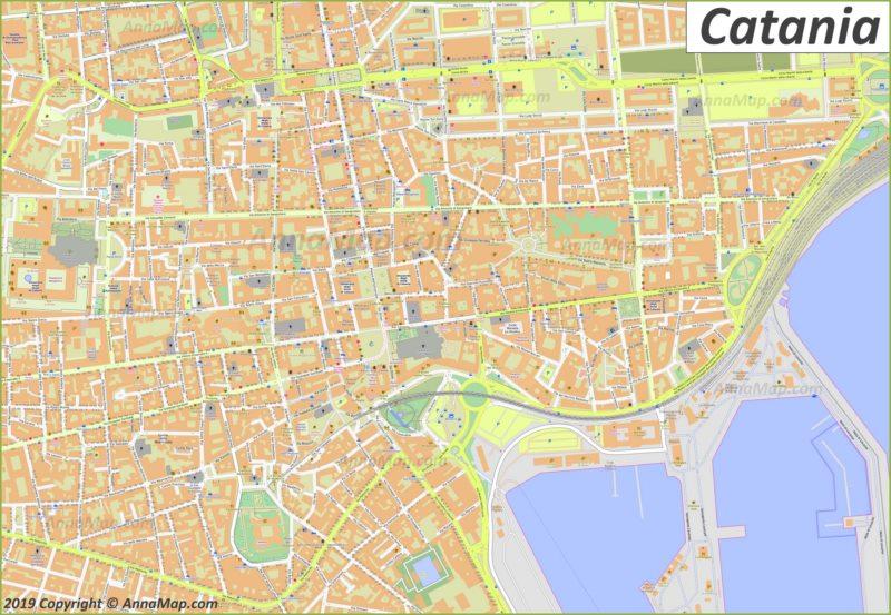 Карта Катании - Центр Города