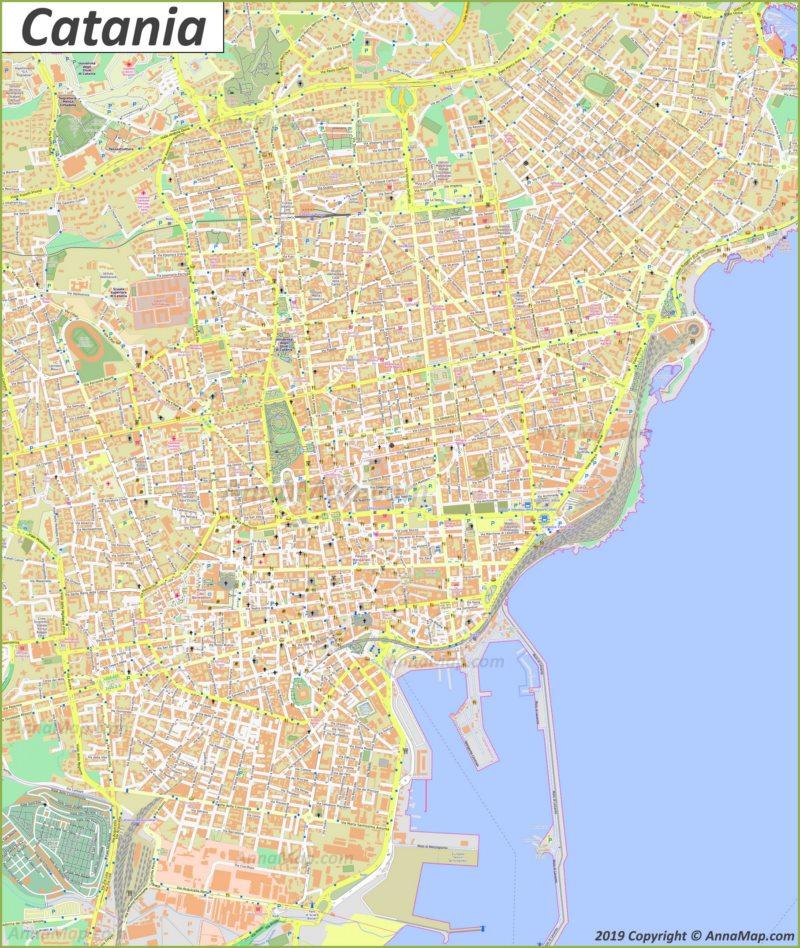 Подробная туристическая карта Катании