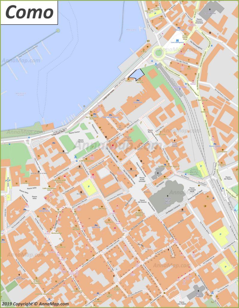 Карта Комо - Центр Города