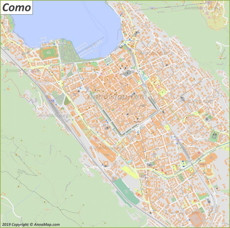 Подробная туристическая карта Комо