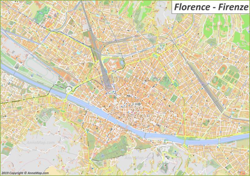 Подробная туристическая карта Флоренции