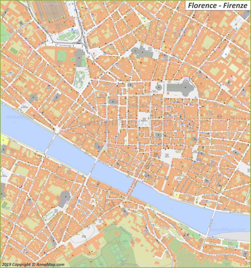 Карта Флоренции - Центр Города