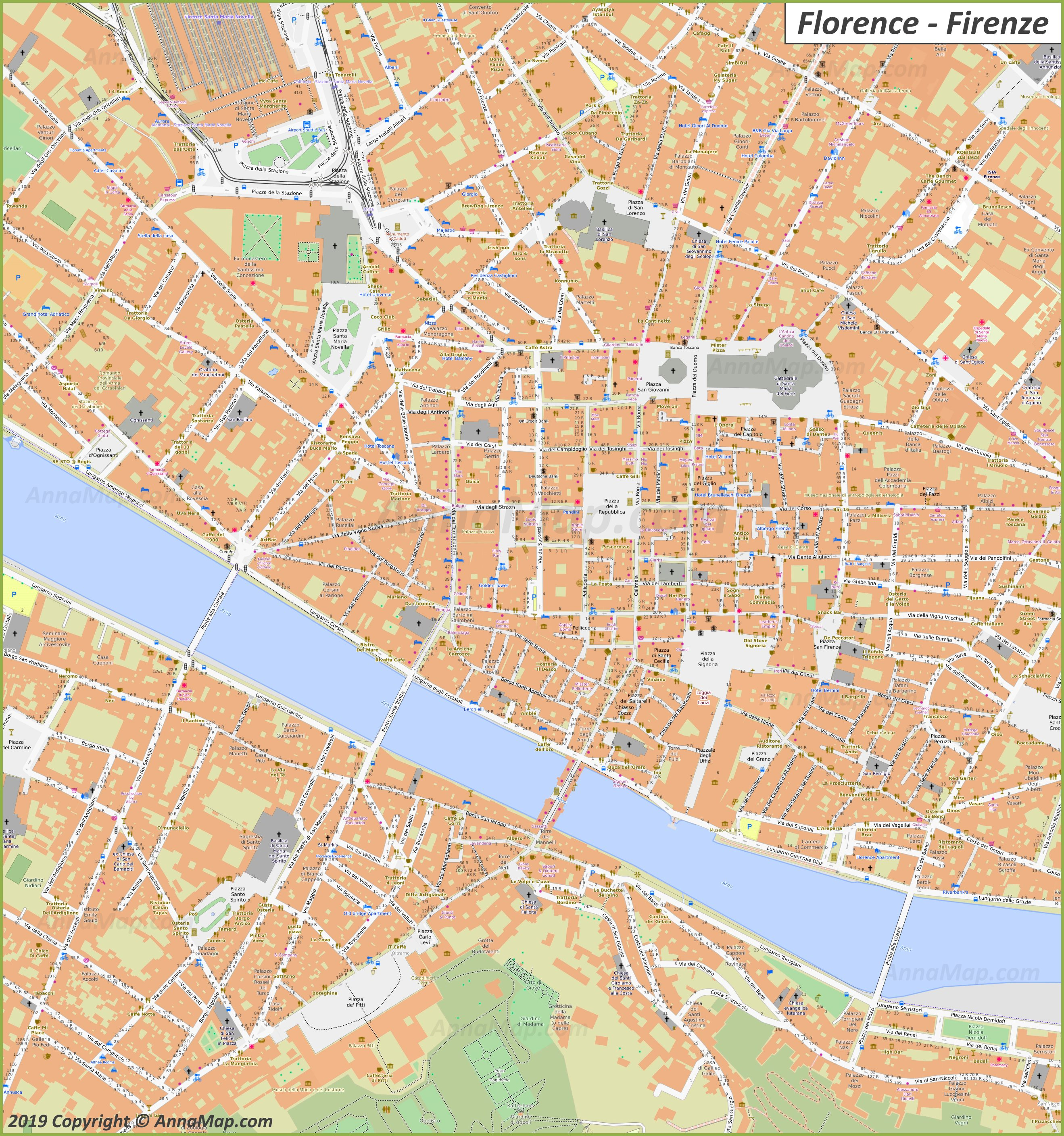 Detailed Tourist Maps Of Florence Italy Free Printable