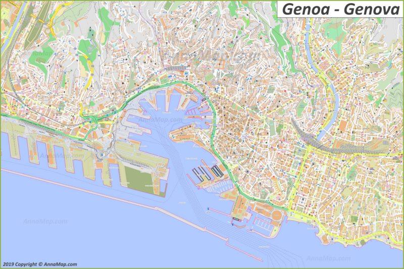 Mapa turístico detallado de Génova
