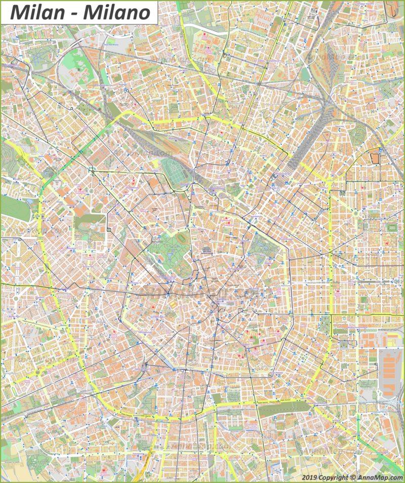 Mappa turistica dettagliata di Milano