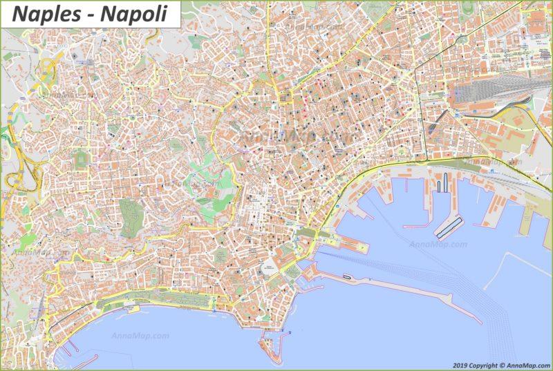 Mappa turistica dettagliata di Napoli