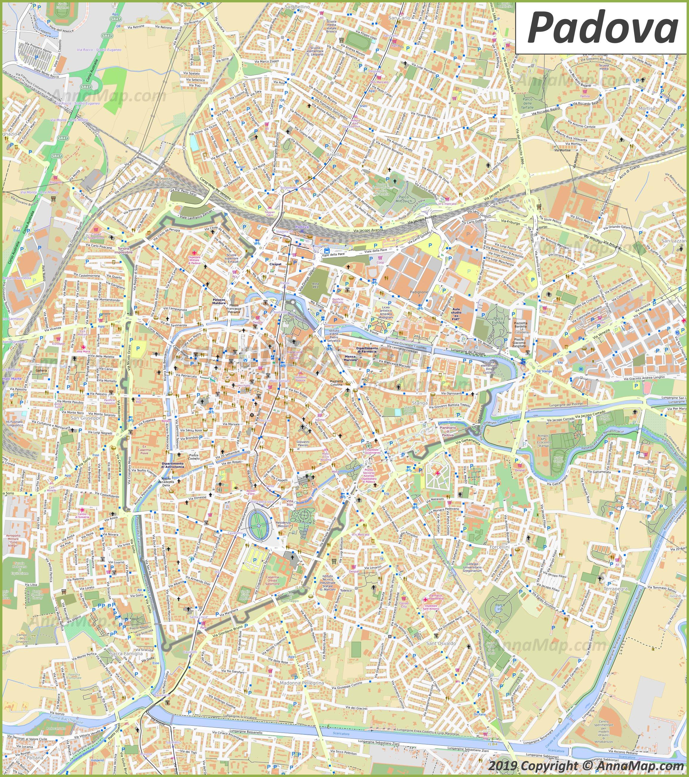 Detailed Tourist Maps Of Padova Italy Free Printable