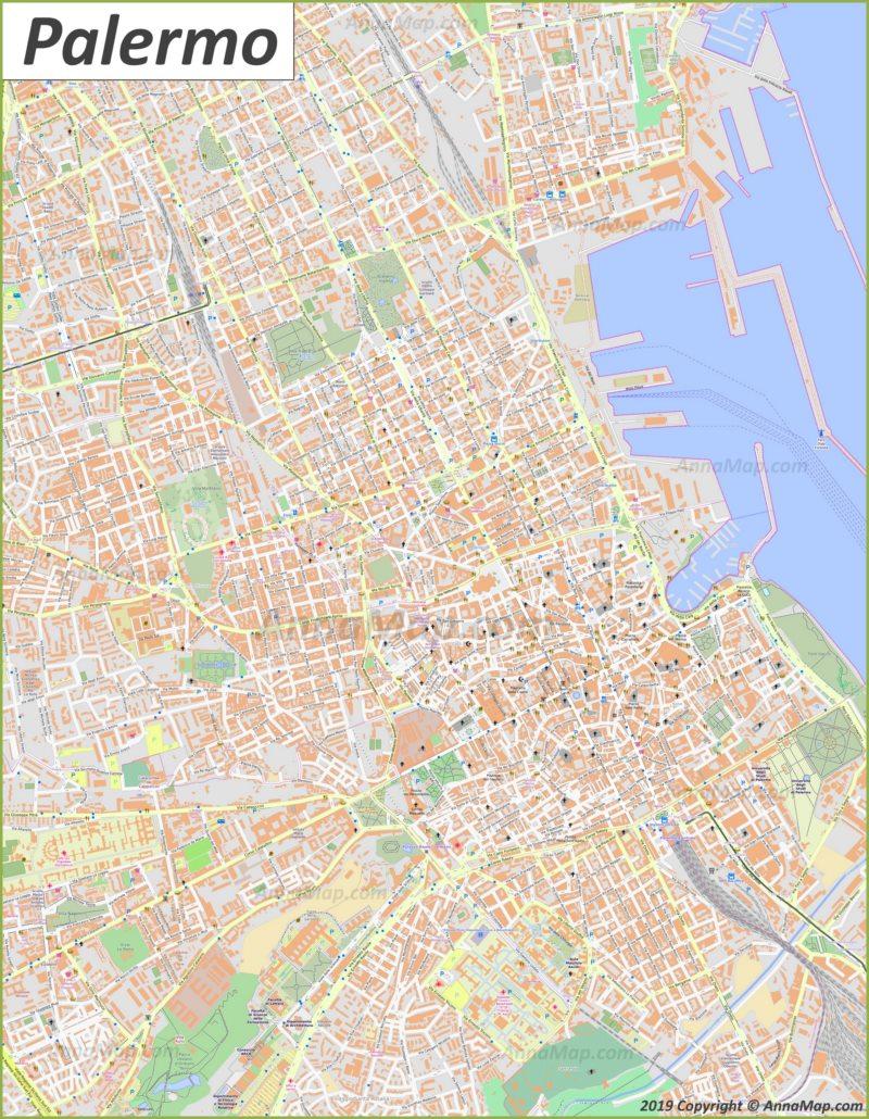 Подробная туристическая карта Палермо