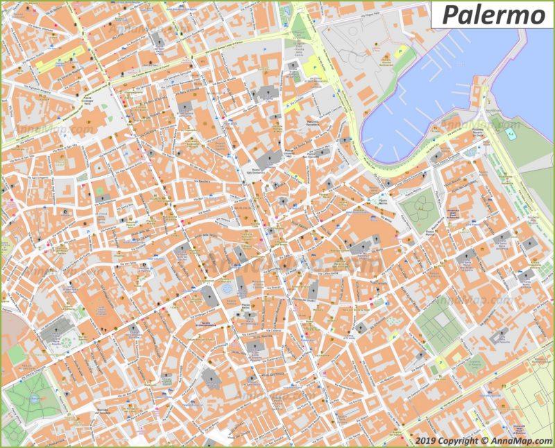 Карта Палермо - Центр Города