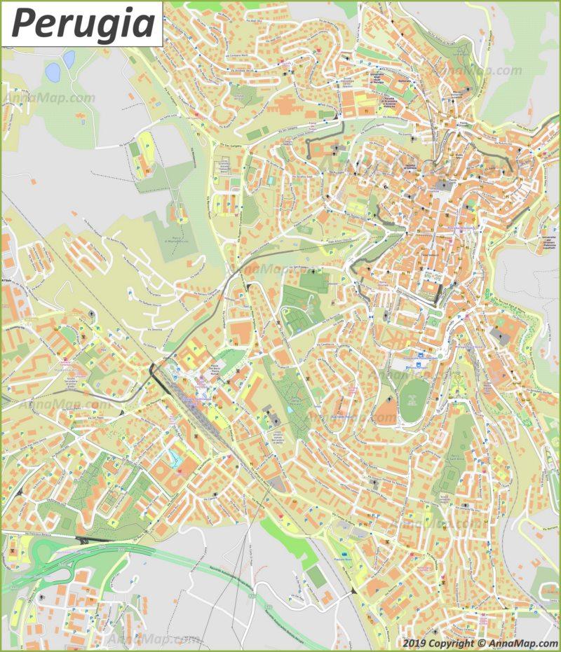 Mappa turistica dettagliata di Perugia