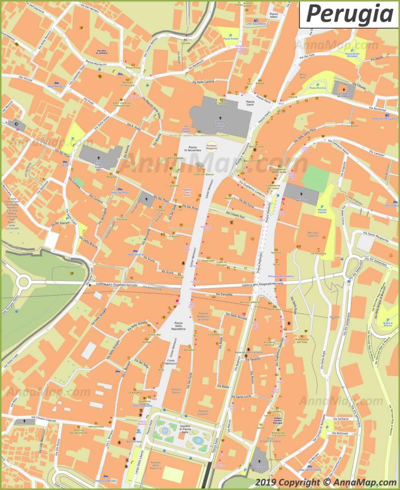 Mappa di Perugia - Centro storico