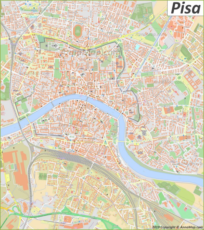 Mappa turistica dettagliata di Pisa