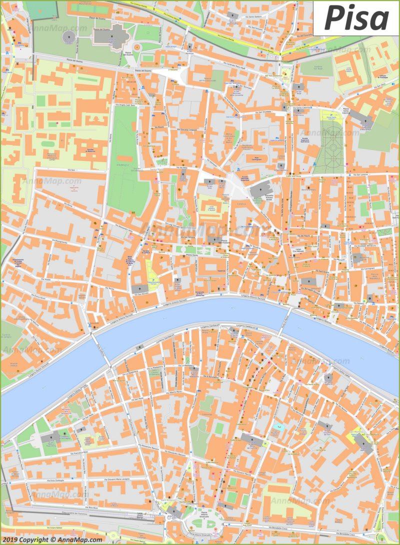 Mappa di Pisa - Centro storico