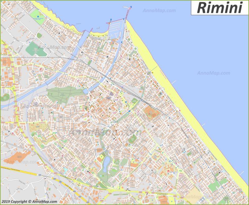 Mappa turistica dettagliata di Rimini