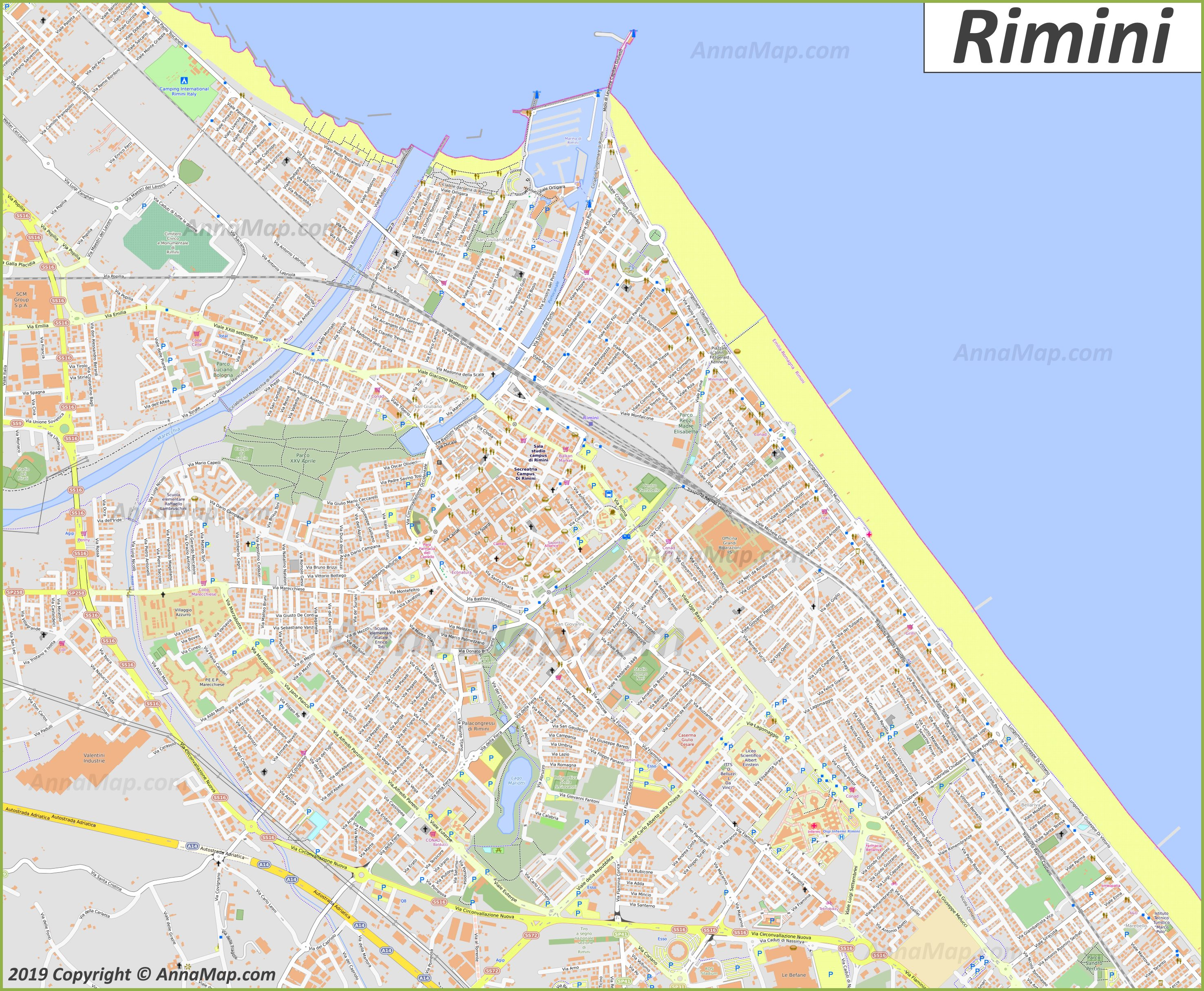 photograph regarding Printable Map of Sicily named Thorough vacationer maps of Rimini Italy No cost printable