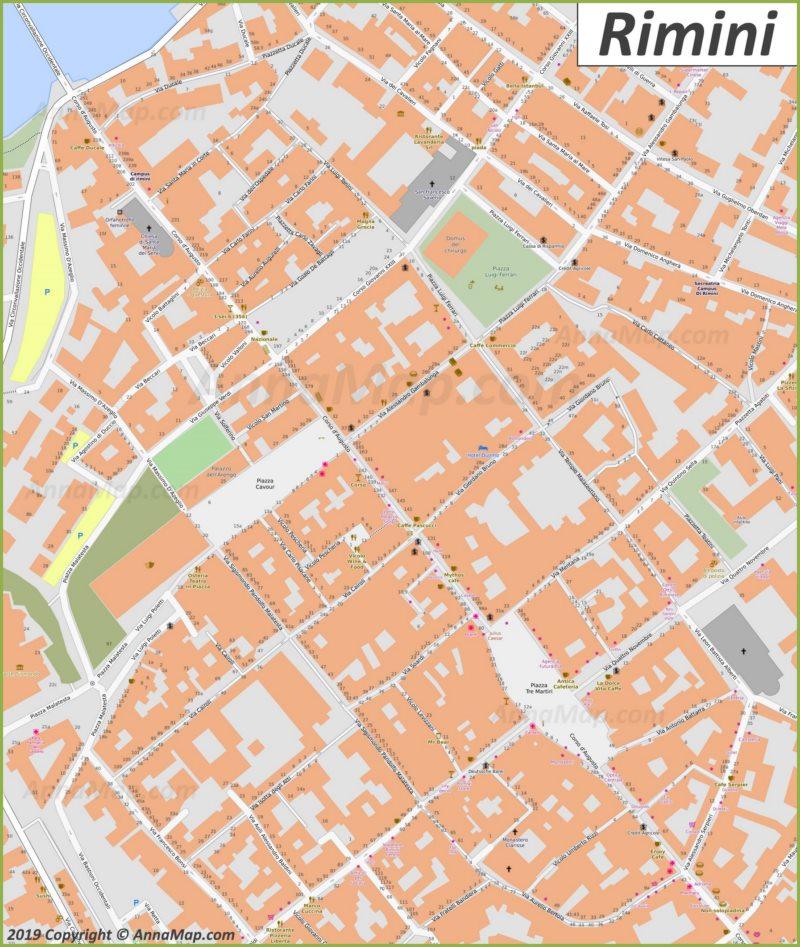 Mappa di Rimini - Centro storico
